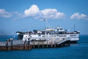 MARTHA'S VINEYARD, MASSACHUSETTS/USA – June 26: A ferry boat arrives at the dock on Martha's Vineyard on June 26, 2011. Martha's Vineyard is a popular island off Cape Cod in Massachusetts.
