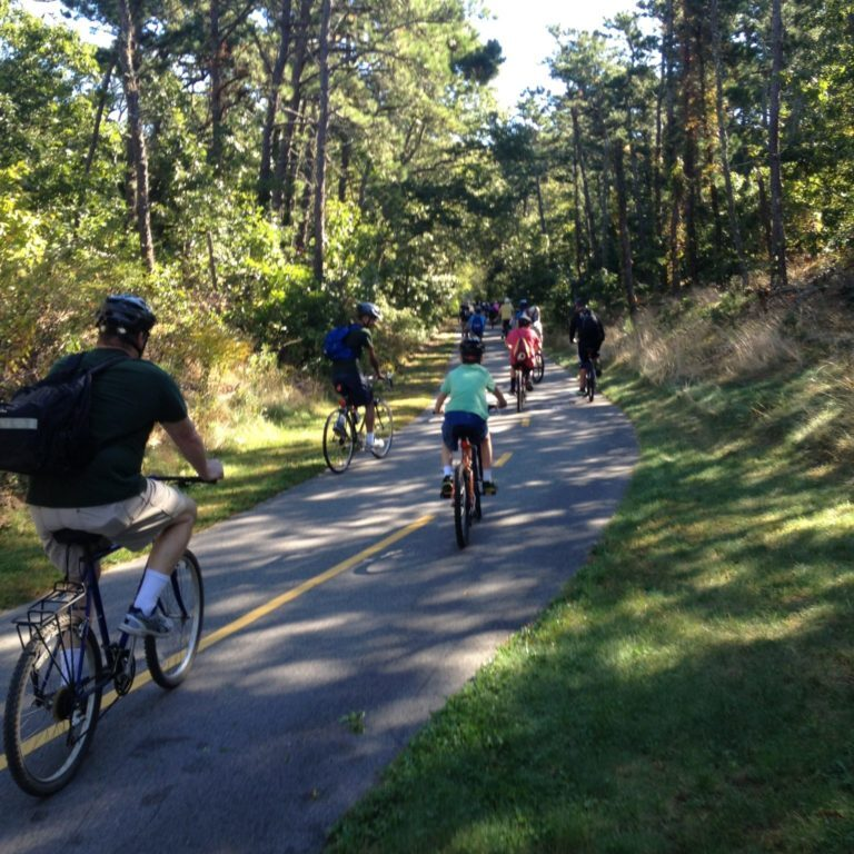 Youth group enjoying Cape Cod Rail Trail